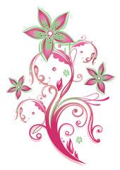 Ranke, flora, Blume, Blüte, bunt, türkis, altrosa