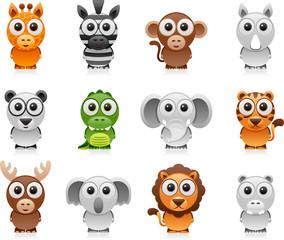jungle animals cartoon set