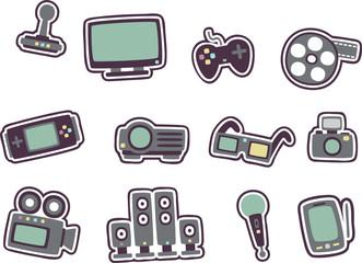 cartoon technology icons 2