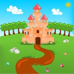 Door stickers Castle Cartoon illustration of castle with landscape