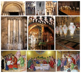 collage of Church of the Holy Sepulcher.Jerusalem