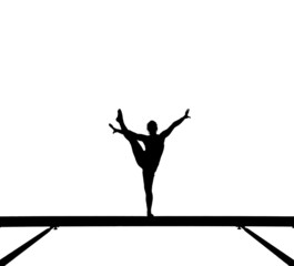 Fototapete - silhouette of female gymnast on balance beam