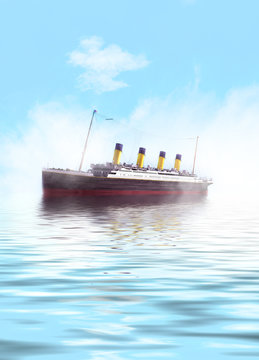 Titanic ship sailing in calm waters
