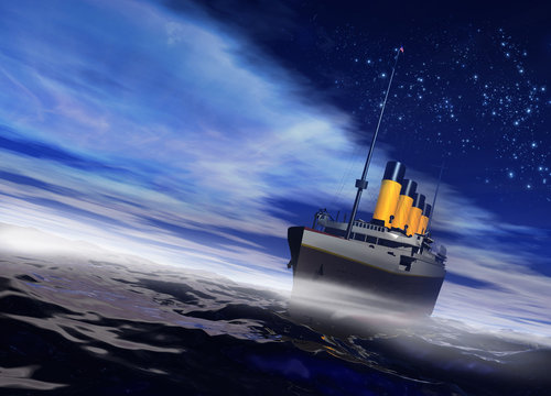 Titanic ship sailing on the night ocean with fog rising