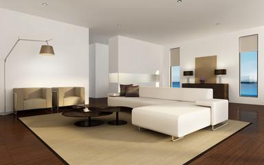Luxury mediterranean beach house interior, chic  furniture