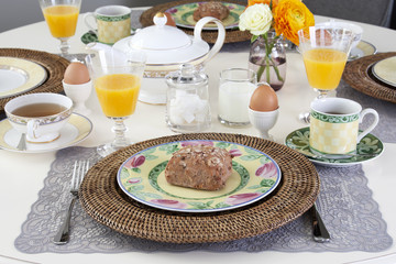 Dining table with breakfast