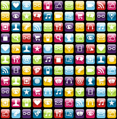 Mobile phone app icons pattern background