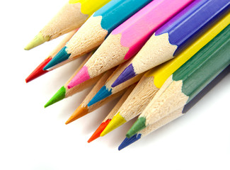 Color pencils isolated on a white top view