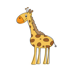 lonely vector giraffe isolated on white background