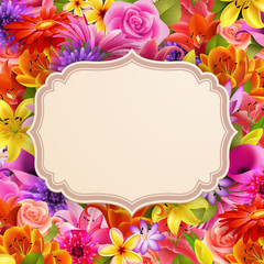 Wall Mural - Card with place for text on flower background