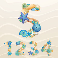 Wall Mural - Numbers, vector sea life font on sand background.