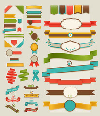 Wall Mural - Set of retro ribbons and labels