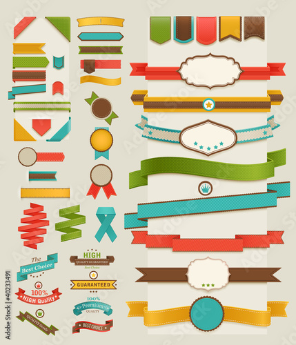 Wall mural Set of retro ribbons and labels