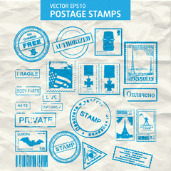 Vector set of stamps and postmarks.