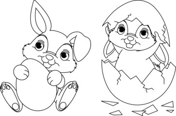 Canvas Prints Fairytale World Easter Bunny coloring page