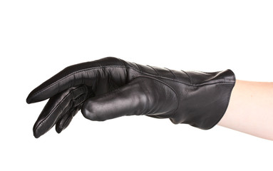Wall Mural - women hand in black leather glove isolated on white
