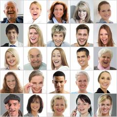 Gruppe lachender Gesichter
