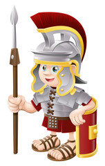 Spoed Fotobehang Ridders Cartoon Roman Soldier