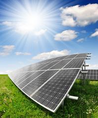 Solar energy panels against sunny sky - fisheye shot