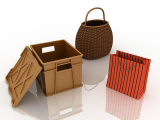 3d containers for purchases.