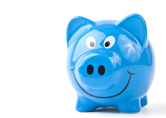 Blue piggy bank. On a white background.