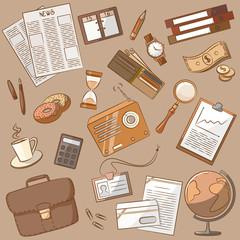 Business doodle vintage style