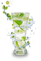 Garden Poster Splashing water Fresh mojito drink with splash spiral around glass.