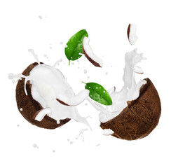 Wall Mural - Coconut with milk splash over white