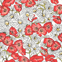 Excellent seamless pattern with poppies