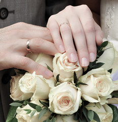 Rings on hands of justmarried