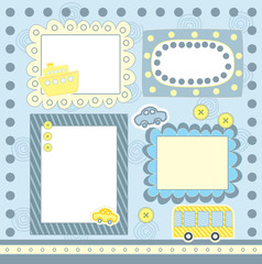 four blue scrapbooking frames
