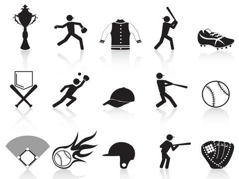 black baseball icons set