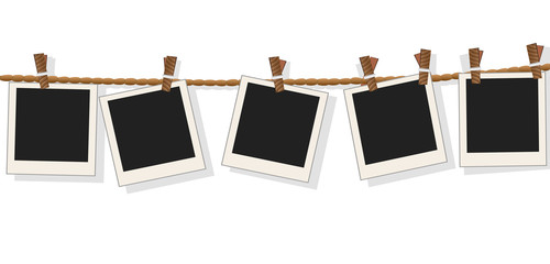 Blank photo frames on line,vector