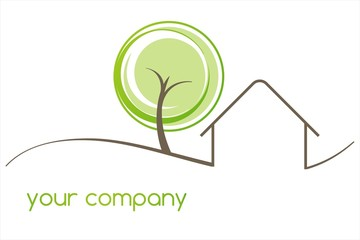 Home , tree, green Eco friendly business logo design