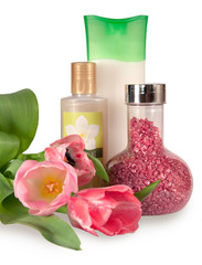 Bath salt, shampoo and body wash with tulips