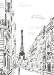Foto op Canvas Illustratie Parijs Paris street - illustration