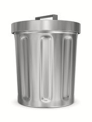 Garbage basket on white background. Isolated 3D image
