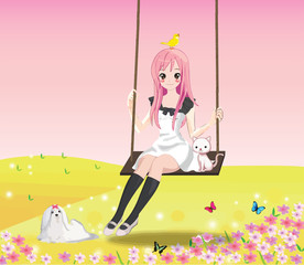 Cute girl on the swing (pink BG)