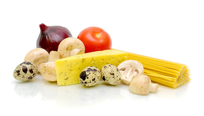 mushrooms, vegetables, cheese and pasta on a white background