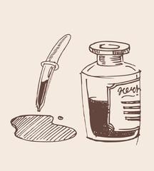 Glass dropper hand drawn sketch illustration