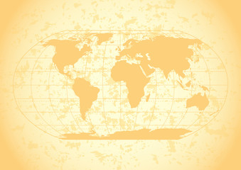 Vintage world map with grunge paper background.