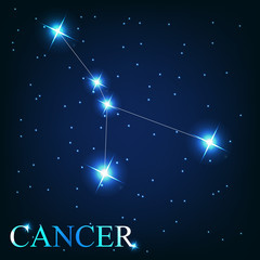 vector of the cancer zodiac sign of the beautiful bright stars o