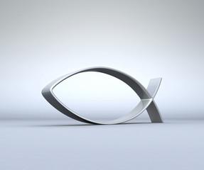 3D ICHTHYS Silber auf Grau 04