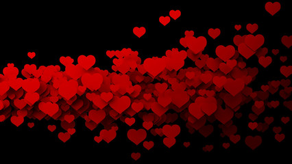 Abstract red hearts, flying. background High resolution 3D