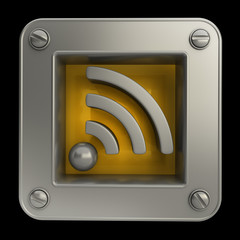 3D button icon with rss symbol isolated on black