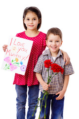 Two kids with greetings for mum