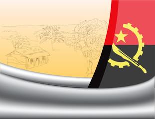 Flag of Angola and Farmhouse
