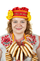 woman in Russian folk clothes