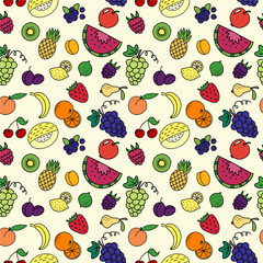 Seamless pattern with varios fruits and berrys