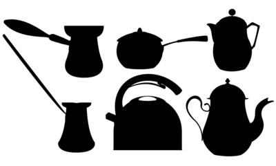 Coffee and tea silhouettes